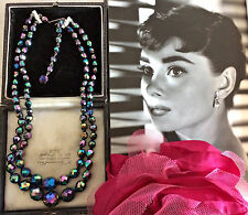 Vintage 50s Aurora Borealis AB Double Strand Necklace Signed GERMANY Knotted