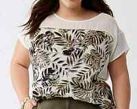 LANE BRYANT Metallic Palms Graphic Tee Womens Plus 22/24 26/28 Knit Blouse 3x 4x