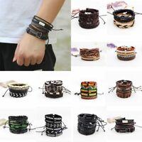 Fashion Men's Vintage Punk Leather Wrap Braided Wristband Bracelet Bangle Set