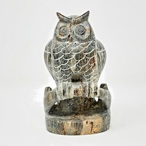 Vintage Hand Carved Canadian Soapstone Perching Owl On Branch Sculpture