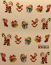 Nail Art Water Decals Christmas Snowman Santa Rocking Horse Stocking Bell BLE914