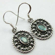 ETHNIC Jewelry !! 925 Sterling Silver LABRADORITE MADE IN INDIA Earrings 1.3""