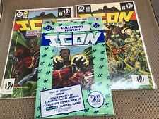 ICON #1, 2 & 1 sealed Collector #1 lot: DC Comics 1993 NM, Black hero duo, Ank
