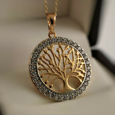 18ct Gold Filled Tree Of Life Pendant Set With Clear Crystals Necklace Chain 84