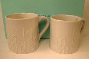 (2) Unused TIFFANY & Co. Wheat Leaf Flora & Fauna Mugs Portugal
