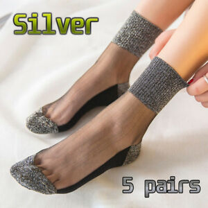 5 pairs Women Socks Crystal Lace Ankle Boat Socks Silk Transparent Fashion