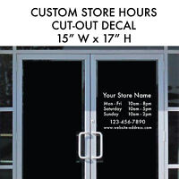 STORE HOURS Large Business Custom Cut-out Vinyl Decal Sticker 15x17 Window Door