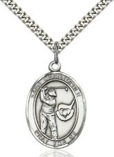Sterling Silver Saint Christopher Golf Sports Athlete Medal, 1 Inch