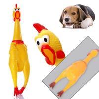 17cm amarillo gritando pollo de goma mascotas perros Toy squeak squeaker BF
