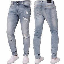 NEU Enzo Herren Stretch Super Skinny Ripped Freizeit Mode Denim Jeans