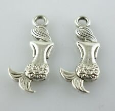 24pcs Antique Silver Mermaid Back Charms Crafts Pendants 8x20.5mm