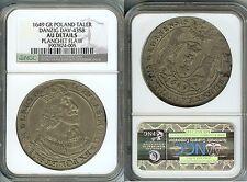Rare 1649 Danzig Poland-Large Silver Taler NGC AU-Nice, planchet flaw reverse