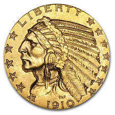 $5 Indian Gold Half Eagle AU (Random Year) - SKU #23211