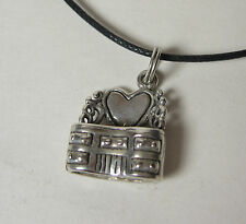 Bedroom Vanity Charm Pendant Necklace .925 Sterling Silver USA Made Heart Makeup