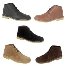 New Mens Suede Desert Boots All Sizes Lace up Fashion Ankle Smart Shoes Black