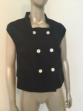 Bill Blass USA Women's Cotton Double Breasted Sleeveless Blouse Vest Navy Small