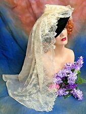 """ANTIQUE LACE fine woven net 25"""" wide SCALLOPED ecru MILLINERY bridal SEWING 56"""""""