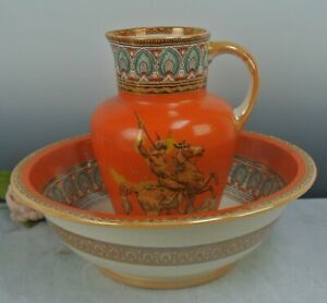 Vintage Furnival Ironstone Pottery Wash Bowl and Pitcher Set with Lion Fighter