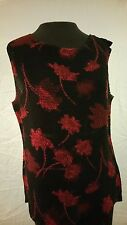 Coldwater Creek  Sleeveless top Sz S Black & Red floral