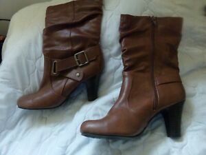 """Faded Glory Women's Size 8 Brown Mid Calf Boots Side Zipper Buckle Round 3"""" Heel"""