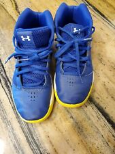 Under Armour Size 6 Steph Curry Boys Basketball High Tops Shoes Blue Yellow
