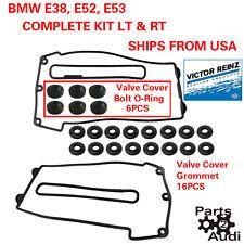 REINZ Engine Valve Cover Gaskets w Grommets Set Left & Right For BMW E38 E52 E53