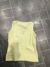 M&S SIZE 8 PALE GREEN IRISH LINEN SLEEVELESS VEST TOP WITH STITCH DETAIL BNWTS