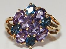 9CT YELLOW GOLD OVAL  AMETHYST &  SAPPHIRE CLUSTER  RING  Size L