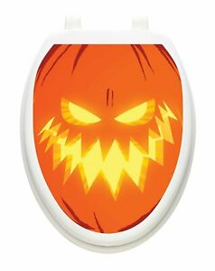 Toilet Tattoos Halloween Jack O Lantern  Vinyl Removable Halloween Lid Decor
