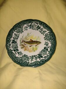 """RARE GREEN Royal Worcester Palissy Game Series Fish (Trout?) Plate 6"""". VGC"""