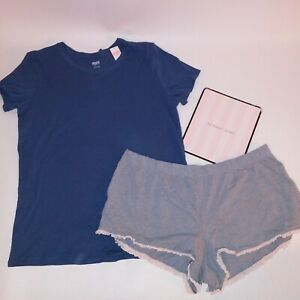 Victoria Secret Pajama Set Top & Bottom T Shirt Shorts Blue Gray Solid Sleepwear