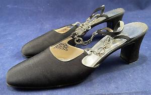 Vtg Evins Black Peau De Soie Rhinestone Chain Link Strap Sling Back Shoes Sz 8.5