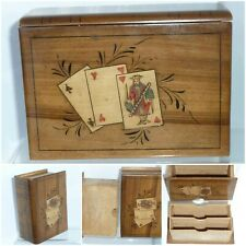 Antique Marquetry Treen Wood Book Secret Drawer Puzzle Box Playing Cards Bridge