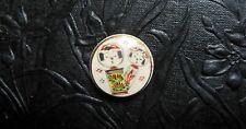 "Vintage Hand Painted Japanese SATSUMA Ceramic Button - Kokeshi Dolls 1"" Inch"