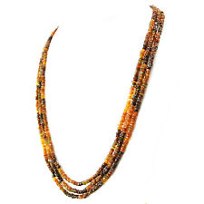 213.50 Cts Natural 3 Strand Hessonite Garnet Round Shape Faceted Beads Necklace