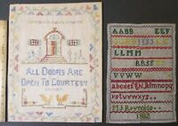 2 ANTIQUE SAMPLERS Alphabet Signed & Dated 1882 + All Doors Are Open To Courtesy