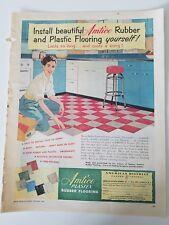 1952 amtico rubber flooring retro red white blue kitchen cabinets design ad