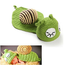 Green Snail Toddler Baby Knitted Crochet Beanie Hats Costume Photo Props Outfit