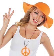 década de los 70 AÑOS Sombrero De Ala Ancha naranja neón NUEVO