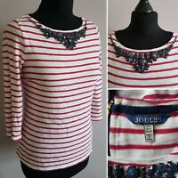 Ladies JOULES Striped Top Sz 6 Red & White Jewel Neck Marine Harbour Nautical