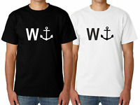 Men's W ANCHOR WANKER Tshirt Funny Slogan T Shirt Short Sleeve Gift Idea Prank