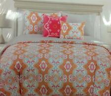 Max Studio 3 pc Full/Queen Duvet Cover & Shams Set Orange/Pink/Gray Medallion