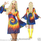 Tie Dye 60s 70s Hippy Costume Womens 1960s 1970s Go Go Hippie Fancy Dress CL296