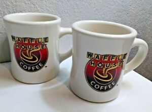 TWO WAFFLE HOUSE COFFEE HEAVY THICK MUGS, TUXTON RESTAURANT WARE