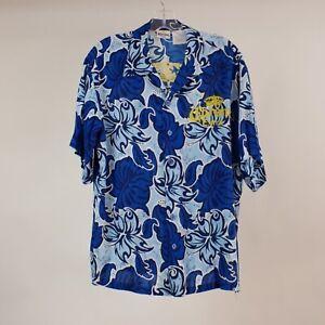 Corona Extra L Blue Hawaiian Aloha Lounge Shirt S/S Button Front