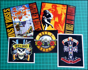 GUNS N' ROSES, Set of 5 Glossy Vinyl Promo Stickers, Appetite, Illusion, Logos