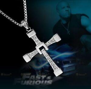 Fast & Furious (Dominic Toretto) Silver Plate Crystal Gem Cross/Crucifix & Chain