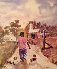 "Boy with His Dogs Print. African American Art 16"" x 20"""