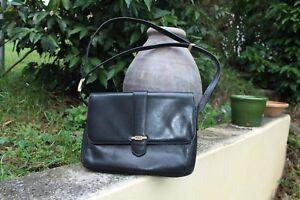 sac vintage cuir noir pourchet (paris)