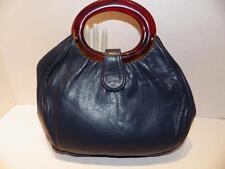 Vintage 1960s Handbag Double Tortoise Handles Navy Blue Leather Bermuda Bag